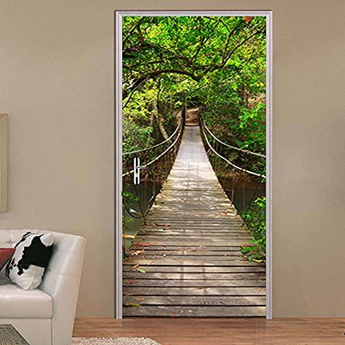 LBMT - Adhesivo decorativo 3D para puerta de madera, diseño de puente, bosque, casa de madera, decoración de pared, XL (47,5 x 215 x 2 unidades)