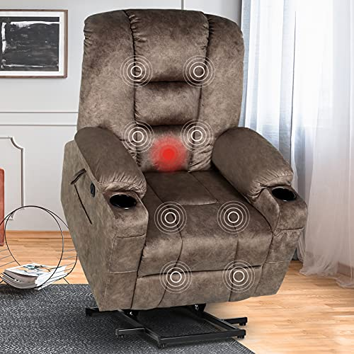 SENYUN Electric Power Lift Recliner Chair with Massage and Heat for Elderly, Ergonomic Lounge Chair for Living Room Single Sofa with 2 Side Pockets and Cup Holders, USB Ports