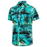 EUOW Men's Hawaiian Shirt Short Sleeves Printed Button Down Summer Beach Dress Shirts (Multicolored BL3, 3XL, 3X_l)