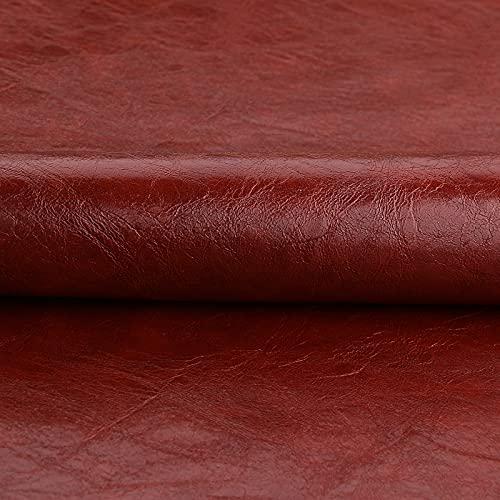 ZSYGFS Tela De Cuero Sintético De Polipiel 138 Cm De Ancho Vendido por Metro para Muebles Sofás Sillas Manualidades(Color:Rojo marrón)