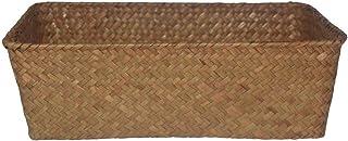GFEU Paniers de rangement rectangulaires en jonc de mer naturel et osier tressé (grand, marron)