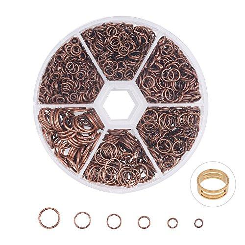 PandaHall Elite 1 Caja de Hierro de diseño Anillos de Salto de 4 mm hasta 10 mm de diámetro con Funda