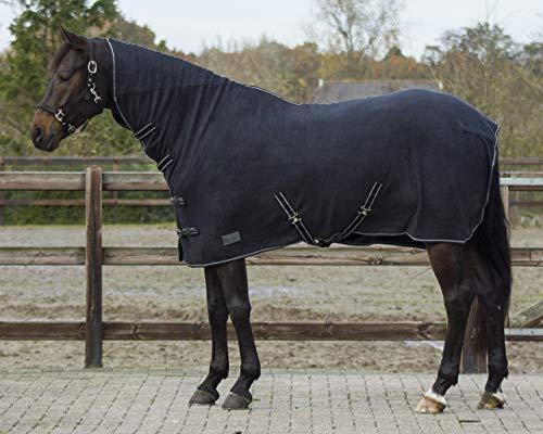 QHP Fleecedecke Abschwitzdecke Basic mit Halsteil Kreuzgurte blau + schwarz (155 cm, Schwarz)