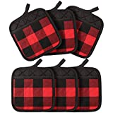 St. Patrick's Valentine's Day Buffalo Check Pot Holders with Pocket, Hot Pad Plaid Cloth Potholders Heat Insulation Potholders for Kitchen Cooking Baking Grilling (Red Black, 6 Pieces)