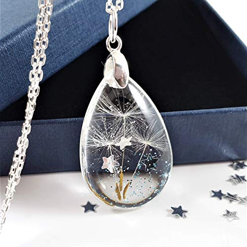 Silver Dandelion Seed Wish Necklace with Glitter and Stars Christmas Gift...