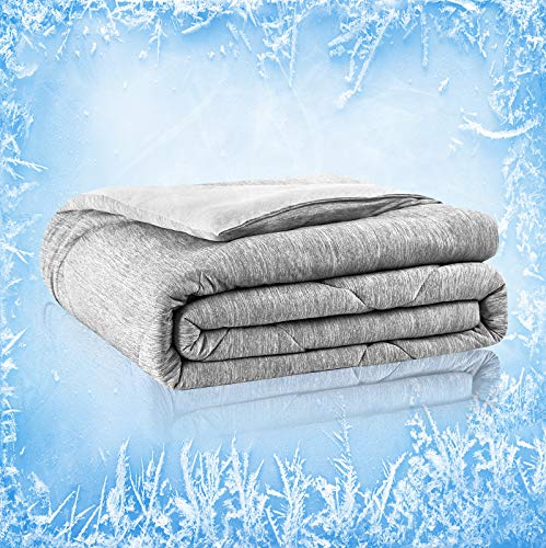 Cooling Comforter, Twin/Full Size All Season Avolare Reversible Down Alternative Comforter, Ultra Soft&Lightweight, Cooling Blanket, Arc-chill Fiber&Egyptian Cotton, Machine Washable(59x79'',Gray)