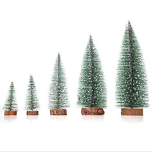 Árbol de Navidad,Árbol de Mavidad Artificial 5PCS Mini Árbol de Navidad DIY Xmas Tree con Bases de Madera para Decoración de Mesa de Manualidades Navideñas