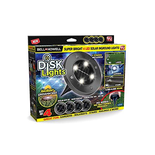 Bell + Howell Disk Lights Gunmetal – Heavy Duty Outdoor Solar Pathway Lights – 4 LED, Auto On/Off, Water Resistant, with Included Stakes, for Garden, Yard, Patio and Lawn - As Seen on TV (Renewed)