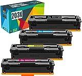 Do it wiser Cartuchos de Tóner Compatibles para HP 203X CF540X 203A CF540A CF541X CF542X CF543X para HP Color Laserjet Pro MFP M281fdw M281fdn M254nw M254dw m280nw m281cdw M254dn (Paquete de 4)