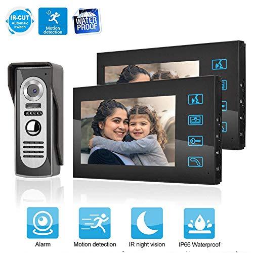 Dioche Timbre de Video, 7 Pulgadas LCD Intercomunicador Timbre Sistema, Timbre para el Hogar con Visión Nocturna, 16 Tonos de Llamada (US Plug)