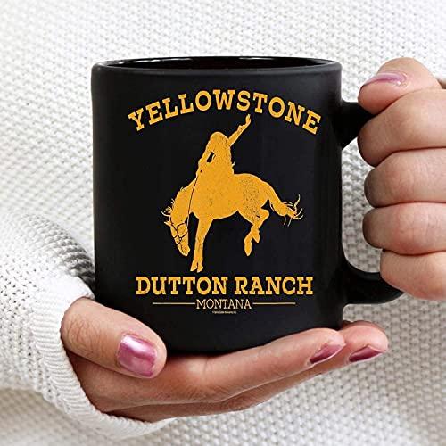 N\A Yellowstone Dutton Ranch Montana - Tazas de café Divertidas, Taza de café Taza de Regalo con Ventilador de Yellowstone para Oficina y hogar (11 oz, Color Negro)