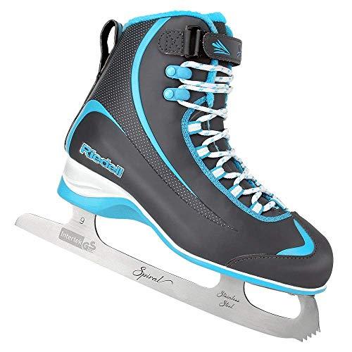 Riedell Skates - 625 Soar - Recreational Soft Beginner Figure Ice Skates | Gray & Blue | Size 12