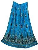 Radhykrishnafashions Indian Yoga - Falda larga para mujer con lentejuelas para escoba gitana, vestido de novia. Azul azul celeste 36