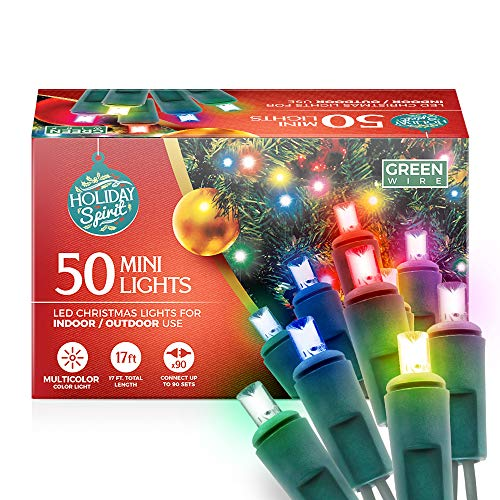 Holiday Spirit Christmas Lights, 50 LED Mini Christmas String Lights for Indoor & Outdoor Use, 120V UL588 Listed Light Strings for Christmas Tree Decoration, Light Displays, Parties (50, Multi)
