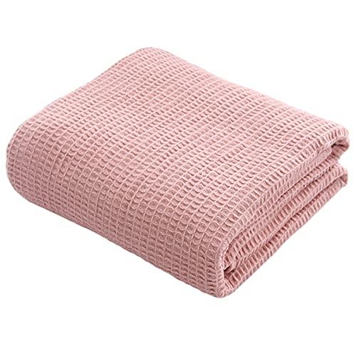 FPKK Manta de algodón con Forma de Punto Suave, Manta Rosa Caliente, Adecuada para Cama, sofá, Viajes y Coche