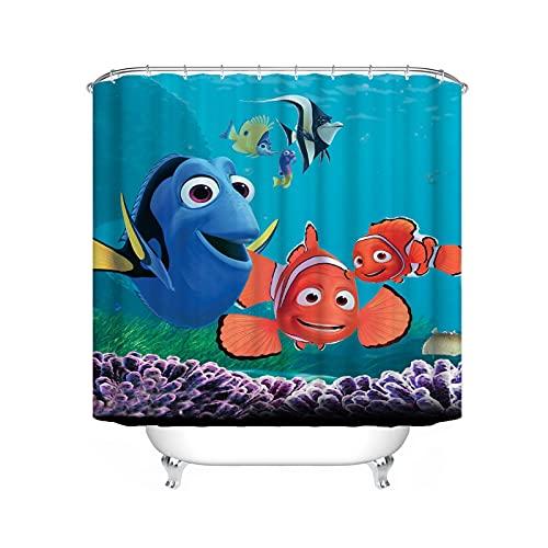 FgolphdDuschvorhang Finding Nemo 120x200 180x200, Textil Ozean Welt Delfin Bunt Shower CurtainsWasserdicht Dekorieren Sie Ihr Badezimmer (200 * 240,7)