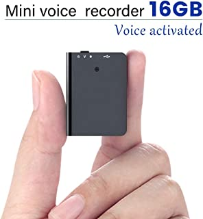 16GB Mini Voice Recorder with Playback, Voice Activated Recorder with USB Charge - Portable Recording Device for Lectures, Meetings, Interviews, Learning