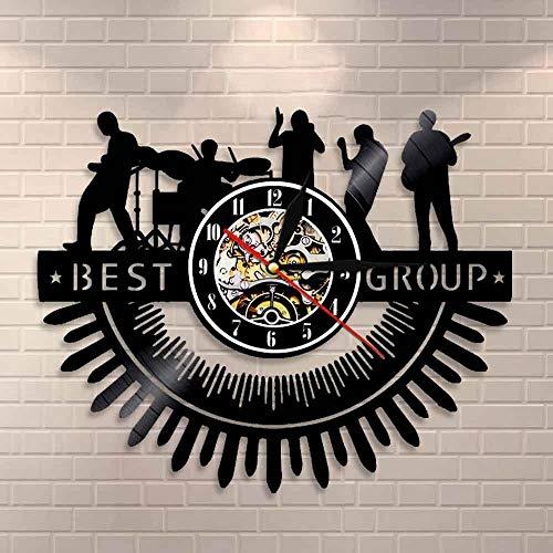 Rock Band Silhouettes Wall Art Rock & Roll Heavy Metal Music Band Reloj de pared Batería Melodía Concierto Live Show Vinilo Record Reloj