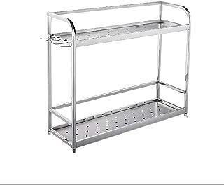 HHQ LRZLZY Kitchen Two-Tier countertop Storage Rack 304 Stainless Steel Seasoning Rack (Size : 500mm)
