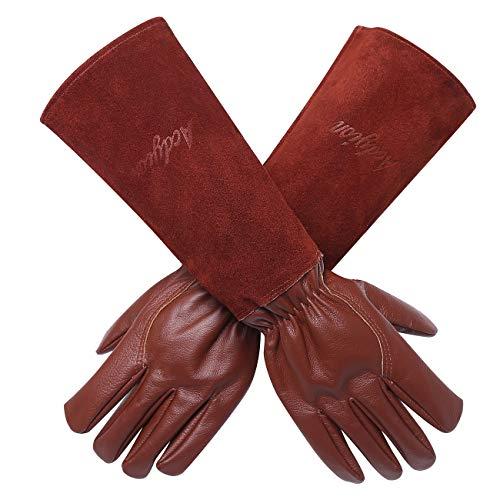 Gartenhandschuhe Damen Herren - Acdyion Rindsleder Gartenhandschuhe mit langem Unterarmschutz, Beschneiden oder Behandeln von Dornenzweigen für Kaktus Rose usw (Medium, Braun)