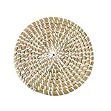 ZJRUI Wall Basket Decor, Handmade Woven Basket Wall Decor Rattan Wall Decor Art Woven Wall Basket Decor for Yoga Mat Indoor Natural Woven Grass Cushion, for Home Bedroom and Living (Solid Color)