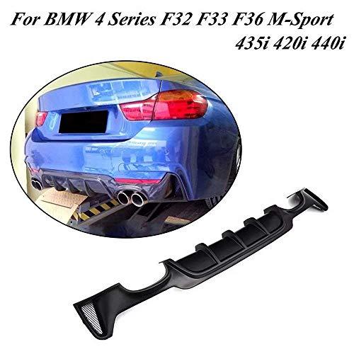 YUDIAN Car Rear Diffuser,fits for BMW 4 Series F32 F33 F36 435i 420i 440i M-Sport 2-Door 4-Door 2013-2018 FRP Rear Diffuser Bumper Lip Spoiler(Quad Exhaust Twin Outlet)