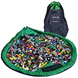 Lay-n-Go Extra Large Building Block Toy Storage Mat – Navy/Green, 60 inch - Drawstring Makes Easy, Quick Pick Up of Building Blocks, Toys – Play Mat for Babies, Toddlers