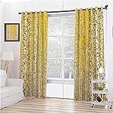 Toopeek Colección de decoración de casa de granja cortinas opacas con ojales oscuros, hojas doradas, 2 paneles de 120 x 84 pulgadas, color marfil mostaza