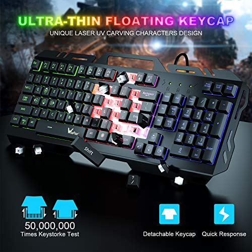 Gaming Keyboard, WisFox Colorful Rainbow LED Backlit Wired Computer Gaming Keyboard with 104 Keys, USB Wired Keyboard and Spill-Resistant for Windows PC Gamers Desktop PS4