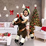 PonyCycle Official Classic U Series Ride on Horse Toy Plush Walking Animal Dark Brown Horse for Age 3-5