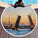 Toalla de Playa Redonda Paisaje Toalla de Playa Liviana Palace Bridge con la Fortaleza de Pedro y Pablo San Petersburgo Noches Blancas Rusia para Viajes, Gimnasio, Camping, Naranja, Azul (diámetro 59