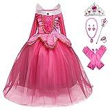 YOSICIL Disfraz de Bella Disfraces de Princesa Aurora Manga Larga Vestido de Princesa de Bella Durmiente Disfraz Accesorios Traje de Fiesta Carnaval Cumpleaños Regalo Navidad Halloween