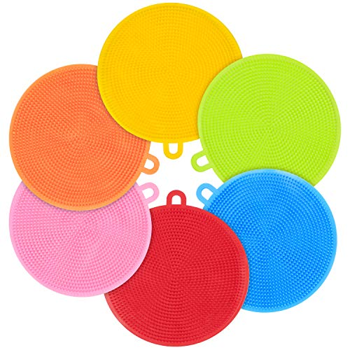 Emoly 6 Pack Food Grade Reusable Sponges for Dishes, Heat Resistant and Without Bpa,Double Sided Silicon Brush, 6 Colors