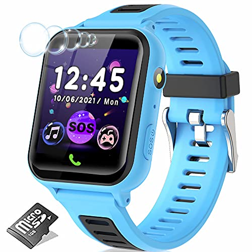 Reloj inteligente para niños y niñas, reloj inteligente para niños con llamada 14 juegos, reproductor de música SOS, reloj...