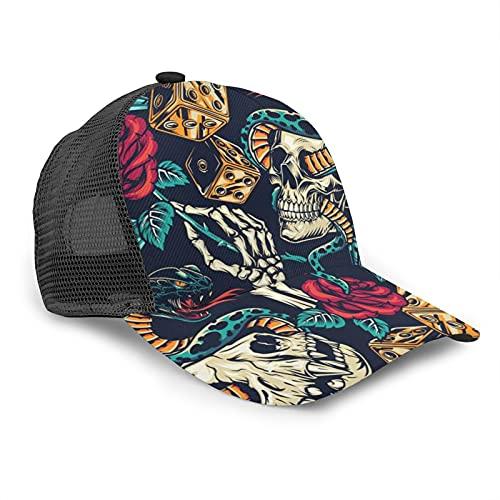 HARLEY BURTON Gorra de béisbol unisex con diseño de calavera rosa serpiente diamantes dados verano ajustable empalme Hip Hop Cap Sun Hat
