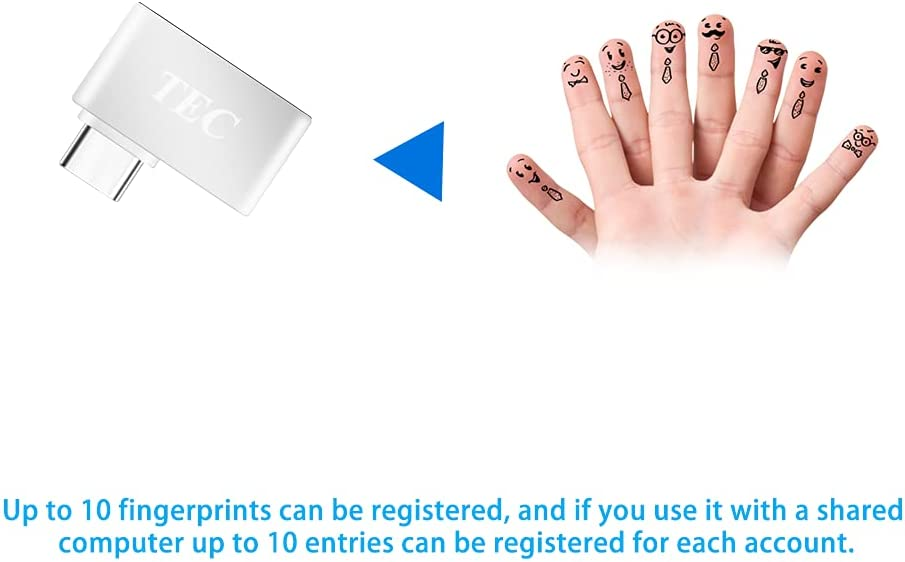 TEC Type-C Fingerprint Reader for Windows 10 Hello, TEC TE-FPA-C Bio-Metric Fingerprint Scanner PC Dongle for Password-Free and File Encryption, 360° Touch Speedy Matching Security Key