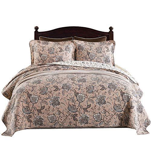 Colcha acolchada de algodón puro de 3 piezas Colcha doble estilo americano Impreso con aire acondicionado Colcha Colcha multifunción Cubierta de cama para todas las estaciones 230 x 250 cm con 2 juego