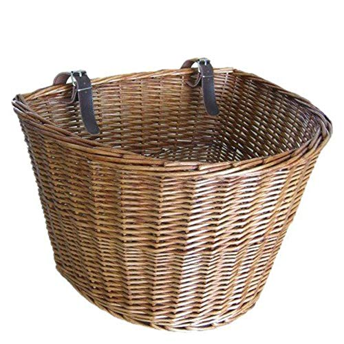 Sale!! Bike Basket Handmade Wicker Bicycle Front Basket With Leather Straps Retro Bike Basket Bicycl...