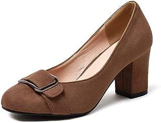 Veveca Women Chunky Block High Heel Slip On Comfy Work Uniform Dress Oxford Shoes Square Toe Loafers Pump