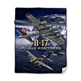 NIWAHO Personalized Throw Blanket Printing USAF Air Force B-17 Flying Fortress Photo, 50X60 Inch