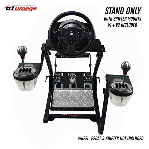 GT Omega Racing Wheel Stand PRO for Thrustmaster T300 RS Force Feedback Steering Wheel & Pedals - Playstation 4 Fanatec Clubsport Xbox PC - Tilt-Adjustable to Ultimate Gaming Console Experience