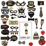 Amycute 30th cumpleaños Photo Booth Props y marco photocall, adornos accesorios cumpleaños 30 años Foto Props para Fiesta Cumpleaños de 30 Años