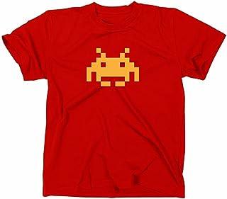 Space Invaders Retro T-Shirt, Atari, C64,eighties,nerd, red, L