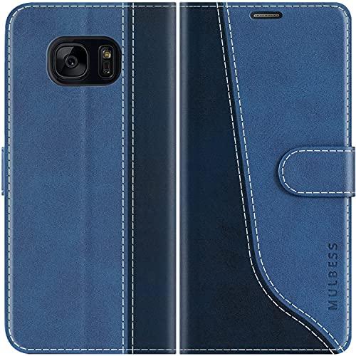 Mulbess Handyhülle Kompatibel mit Samsung Galaxy S7 Hülle Leder, Etui Flip Handytasche Schutzhülle für Samsung Galaxy S7 Hülle, Diamant Blau