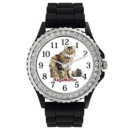 Timest - Gato Ragamuffin Reloj de Silicona Negro para Mujer con piedrecillas Analógico Cuarzo SG1964