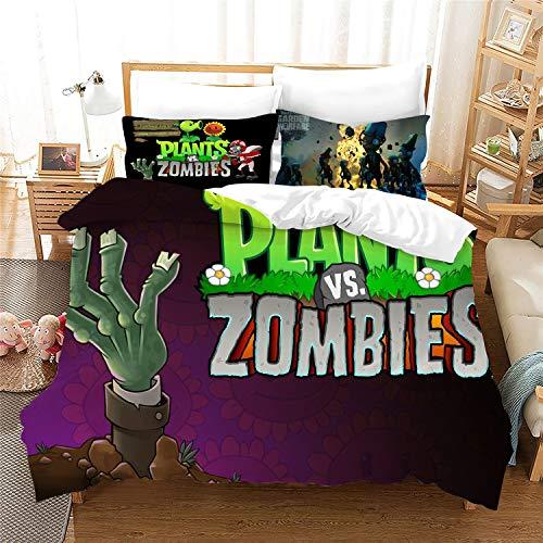 WFBZ - Funda de edredón para plantas, 3D Vs Zombies - Juego de cama (funda nórdica y 2 fundas de almohada), 09, 140x210+50x75cmx1