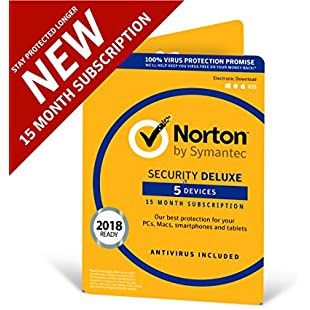 Norton Security Deluxe 2018 | 5 devices | 1 year + 3 months | Antivirus included | PC|Mac|iOS|Android | Download