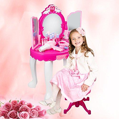 Kinder Schminktisch,Schminktisch für Mädchen Glamouröse Prinzessin Schminktisch mit Hocker, Fön, Make-up Tischspielzeug - Rosa