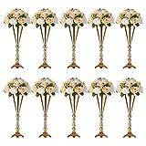 Sziqiqi - Juego de 2 centros de mesa de metal para boda para mesas de recepción, jarrón de flores doradas, decoración de base para fiestas, eventos, cumpleaños, ceremonias de celebraciones, Dorado