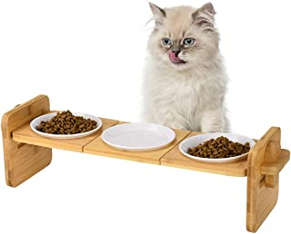 Petacc 猫 皿 犬 フードボウル カビ防止 高防水 ご飯 えさ 餌入れ お皿 食台 食器 スタンド 角度と高さと長さ調節可能 【1年保証】【日本語取扱説明書付き】(竹製スタンド+3つメラミン皿)